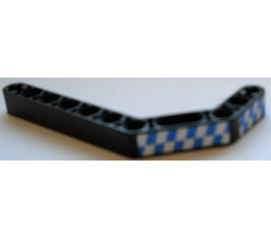 LEGO Technic Beam 3 x 3.8 x 7 Beam Bent 45 Double with 2 blue/white checkered (right) Sticker (32009)