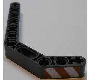 LEGO Technic Beam 3 x 3.8 x 7 Beam Bent 45 Double with Red and White Danger Stripes Left Sticker (32009)