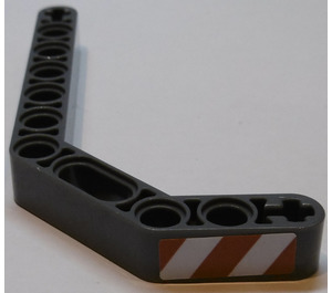 LEGO Technic Beam 3 x 3.8 x 7 Beam Bent 45 Double with Red and White Danger Stripes Right Sticker (32009)