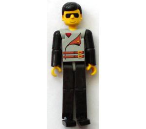 LEGO Technic Figure Black Legs, Light Gray Top with 2 Brown Belts, Black Arms Technic Figure