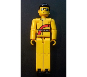 LEGO Technic Figure Power Puller Driver, Yellow Torso with 'TECHNIC' Pattern, Yellow Arms, Yellow Legs, Yellow head with sunglasses, Black Hair Technic Figure