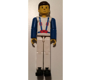 LEGO Technic Figure White Legs, White Top with Blue Suspenders Pattern, Blue Arms Technic Figure