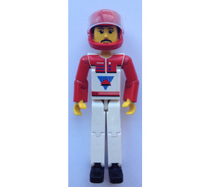 LEGO Technic Figure White Legs, White Top with Red Vest, Red Arms, Black Hair, Red Helmet Technic Figure