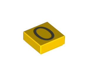 "LEGO Tile 1 x 1 with ""0"" Decoration with Groove (11619 / 13448)"