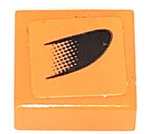 LEGO Tile 1 x 1 with Black Symbol on Orange Left Sticker with Groove (3070)