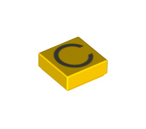 LEGO Tile 1 x 1 with 'C' Decoration with Groove (11535 / 13408)