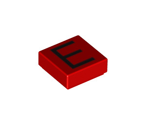 LEGO Tile 1 x 1 with 'E' Decoration with Groove (11541 / 13411)