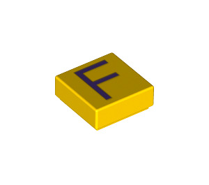 LEGO Tile 1 x 1 with 'F' Decoration with Groove (11542 / 13412)