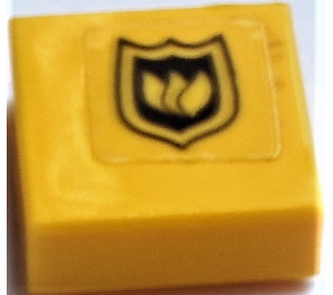 LEGO Tile 1 x 1 with Fire Logo Sticker with Groove (3070)
