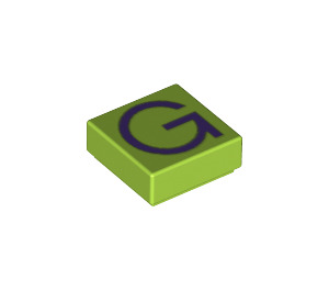 LEGO Tile 1 x 1 with 'G' Decoration with Groove (11544 / 13413)