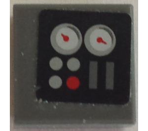 LEGO Tile 1 x 1 with Gauges and Lights Sticker with Groove (3070)