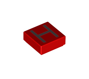 LEGO Tile 1 x 1 with 'H' Decoration with Groove (11546 / 13416)