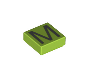 LEGO Tile 1 x 1 with 'M' Decoration with Groove (11558 / 13421)