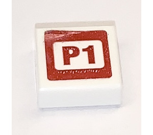 LEGO Tile 1 x 1 with P1 Sticker with Groove (3070)