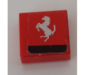 LEGO Tile 1 x 1 with Silver Ferrari Logo Sticker with Groove (3070)