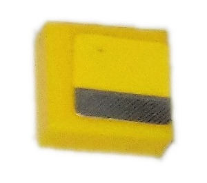 LEGO Tile 1 x 1 with Silver line Sticker with Groove (3070)