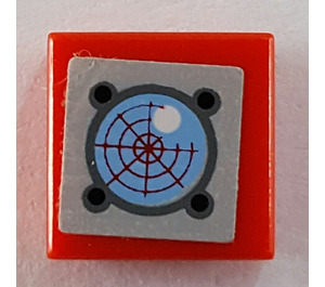 LEGO Tile 1 x 1 with Sonar Sticker with Groove (3070)
