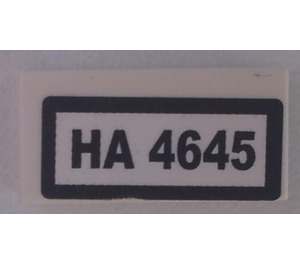LEGO Tile 1 x 2 (undetermined type), Stickered 'HA 4645' (3069 / 15598)