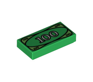 LEGO Tile 1 x 2 with 100 Cash with Groove (3069bpx7 / 3069 / 82317)