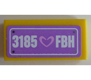 "LEGO Tile 1 x 2 with ""3185 FBH"" Sticker with Groove (3069)"