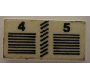 """LEGO Tile 1 x 2 with """"4"""" and """"5"""" with Lines Sticker with Groove (3069)"""