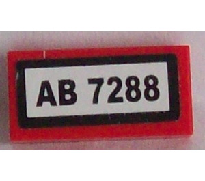 LEGO Tile 1 x 2 with 'AB 7288 Sticker (3069)