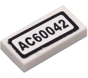 LEGO Tile 1 x 2 with 'AC60042' Licence Plate Sticker from Set 60042 (3069)