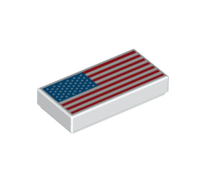 LEGO Tile 1 x 2 with American Flag with Groove (3069 / 68399)