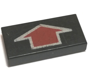LEGO Tile 1 x 2 with Arrow Short DkRed with Silver Border with Groove (3069)