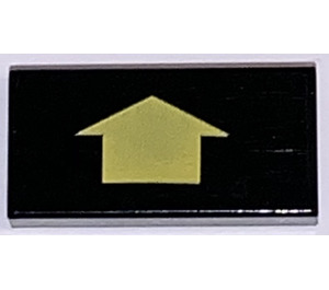 LEGO Tile 1 x 2 with Arrow Short Yellow with Groove (3069)