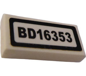 "LEGO Tile 1 x 2 with ""BD16353"" Sticker with Groove (3069)"