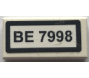 "LEGO Tile 1 x 2 with ""BE 7998"" Sticker (3069)"