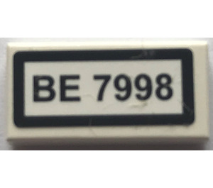"LEGO Tile 1 x 2 with ""BE 7998"" Sticker with Groove (3069)"
