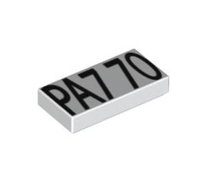 LEGO Tile 1 x 2 with Black 'PA7 70' Pattern with Groove (3069 / 88251)
