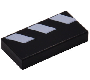 LEGO Tile 1 x 2 with Black & White Diagonal Stripes Decoration with Groove (3069)