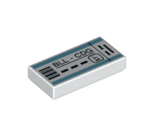 LEGO Tile 1 x 2 with 'BLL - CDG' Boarding Pass with Groove (3069 / 38859)