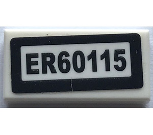 "LEGO Tile 1 x 2 with ""ER60115"" Sticker with Groove (3069)"