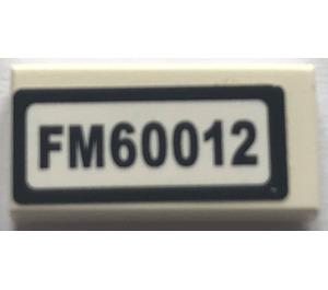 "LEGO Tile 1 x 2 with ""FM60012"" Sticker (3069)"