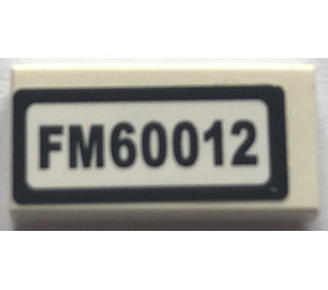 """LEGO Tile 1 x 2 with """"FM60012"""" Sticker with Groove (3069)"""