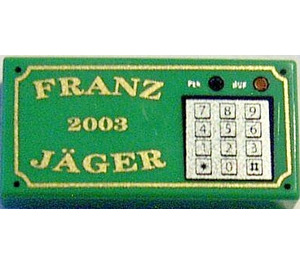 LEGO Tile 1 x 2 with 'Franz Jäger', '2003' and Keypad Decoration with Groove (3069 / 15598)