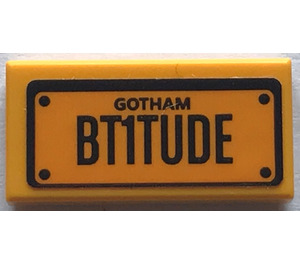 "LEGO Tile 1 x 2 with ""GOTHAM"" and ""BT1TUDE"" Sticker with Groove (3069)"