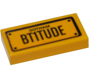 """LEGO Tile 1 x 2 with """"GOTHAM"""" and """"BT1TUDE"""" Sticker with Groove (3069)"""