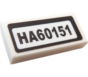 """LEGO Tile 1 x 2 with """"HA60151"""" Sticker with Groove (3069)"""