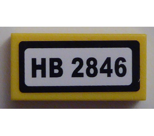 """LEGO Tile 1 x 2 with """"HB 2846"""" Sticker (3069)"""
