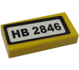 """LEGO Tile 1 x 2 with """"HB 2846"""" Sticker with Groove (3069)"""