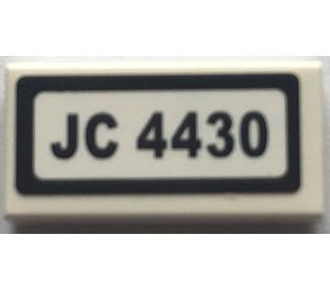 "LEGO Tile 1 x 2 with ""JC 4430"" Sticker (3069)"