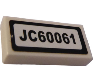"LEGO Tile 1 x 2 with ""JC60061"" Sticker (3069)"