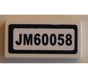 "LEGO Tile 1 x 2 with ""JM60058"" Sticker (3069)"