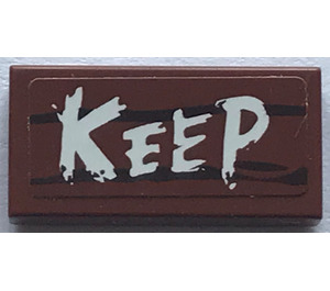 LEGO Tile 1 x 2 with Keep Sign Sticker with Groove (3069)