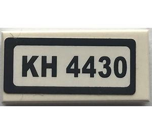 """LEGO Tile 1 x 2 with """"KH 4430"""" Sticker with Groove (3069)"""